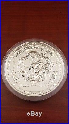2000 Australia 1 Kilo (32.15 Oz). 999 Silver Lunar Dragon Coin Series 1 BU RARE