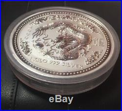 2000 Australia 1 Kilo Dragon Luner Coin. 999 Silver Perth Mint Sealed Capsule