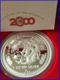 2000 Australia $1 Lunar I Series Year DRAGON 1oz Silver Proof Coin Perth Mint