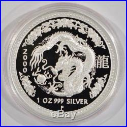 2000 Australia $1 Year of the Dragon Lunar Coin 1 oz Silver RARE PROOF ISSUE