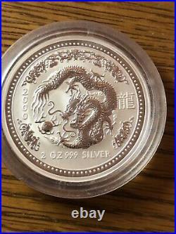 2000 Australia $2 2 oz Silver Coin Lunar Year of Dragon Commemorative in Capsule