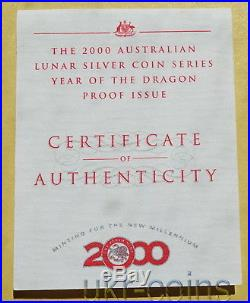 2000 Australia 2 Oz Year of the Dragon $2 Silver Proof Coin Lunar I Perth Mint