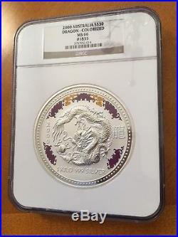 2000 Australia $30 1 Kilo Silver Dragon with Diamond Eyes NGC MS 66