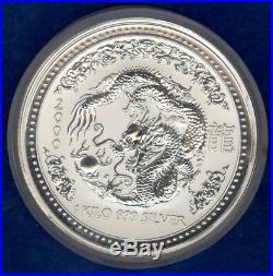 2000 Australia Lunar Silver Dragon 5pc Set (Kilo, 10 oz, 2 oz, 1 oz, 1/2 oz)