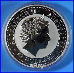 2000 Australia Year of the Dragon Lunar Series $30 One 1 Kilo. 999 Silver Coin