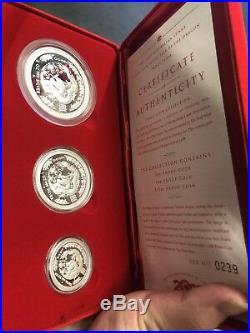 2000 Australia series I dragon lunar proof 2oz 1oz 1/2oz silver coin set rare