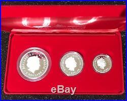 2000 Australian Lunar Silver-Year Of The Dragon-Proof 3-Coin Set & Cert-STUNNING