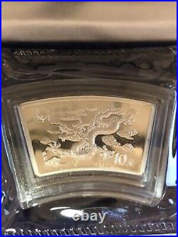 2000 CHINA LUNAR SERIES DRAGON 1 OZ FAN SHAPE SILVER COIN with COA and box