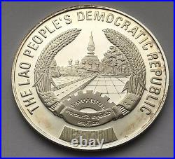 2000 Laos Silver Proof 15,000 Kip Red Dragon Fish Coin Free Shipping
