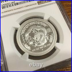 2000 Lunar Year of Dragon 1/2oz Silver Proof Coin NGC Graded PF69 Ultra Cameo