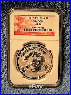 2000 P AUSTRALIA DRAGON 1 oz NGC MS70 (dragon holder very rare)