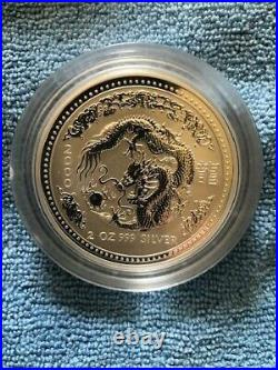 2000 P Australia Silver Lunar Series I Year of the Dragon 2 oz