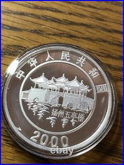 2000 Silver 10 Yuan Dragon China 1 Oz Colored Coin Lunar Series with COA and box
