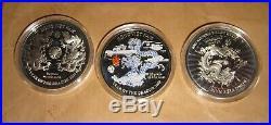 2000 VIETNAM Yr. DRAGON 10000 D Proof Color Silver COINS Set with COA & BOX RAR