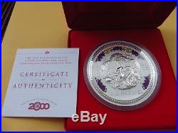 2000 Year of the Dragon 1kg. 999 Silver with Diamond Eyes Lunar series with CoA