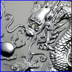 2000 Year of the Dragon with Diamond Eyes 1kg Kilo Silver Coin Lunar Series 1