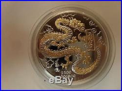 2000 mongolia 5oz. Silver dragon proof coin 2500 togrog