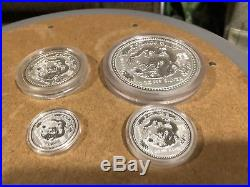 2000 year of the dragon Australia lunar silver 10oz, 2oz, 1oz, and 1/2 oz coins