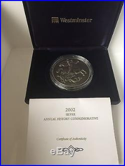 2002 George & The Dragon 5 OZ Antique Finish 999 Solid Silver Coin Cased & C. O. A