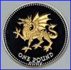 2008 £1 Gilt Silver Coin Decimal 25th Anniversary NGC PF69 UK Welsh Dragon