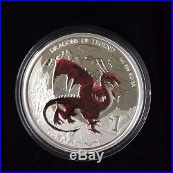 2012 $1 Dragons of Legend Red Welsh Dragon 1oz Silver Proof Coin LOT1