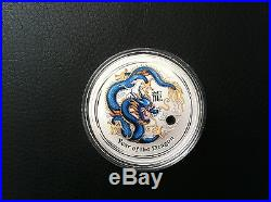 2012 $1 Year of the Dragon 1oz Silver Blue Coloured Coin PERTH MINT