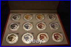 2012 1 oz. 12 coin Silver Australian colored Dragons Lunar Coins From Perth Mint