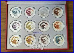 2012 1 oz Silver Australia Lunar Year Of The Dragon Colorized (Set of 12 Coins)