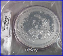2012 10 Oz Ounce Year of the Dragon Australian Series II Lunar Silver Coin BU FS