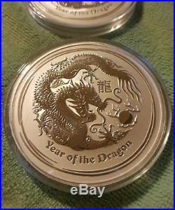 2012 10oz. 999 Silver Lunar Year of The Dragon Bu Coin