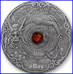2012 2 Oz Silver YEAR OF DRAGON, ANNEE DU DRAGON Coin WITH AMBER