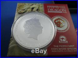 2012 2oz SILVER COLOURED EDITION COIN. LUNAR YEAR OF THE DRAGON ANDA SHOW
