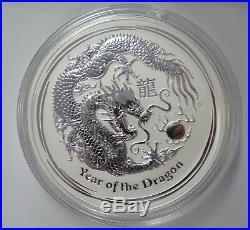 2012 $30 Lunar Dragon, Pure Silver Perth Mint Kilogram Coin UNC