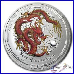 2012 5 oz AUSTRALIAN SILVER DRAGON LUNAR SERIES II COLORED RED/GOLD