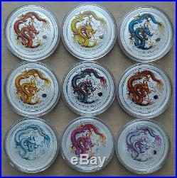 2012 9 x 1 oz Australian Pure Silver Lunar Year The Dragon Colorized