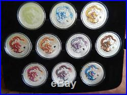2012 AUSTRALIA Year of the Dragon Colorized Silver Coin Set (10 coins)