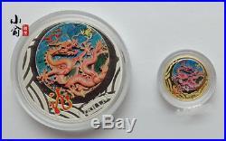 2012 Australia 1/10oz Gold and 1oz Silver Colour Year of Dragon Coins Set
