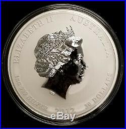 2012 Australia 1 Kilo Silver Coin $30 Year of the Dragon. 999 Fine BU in Capsule