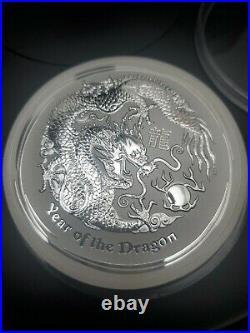2012 Australia 10 Dollars 10 oz. 999 Fine Silver Year Of The Dragon