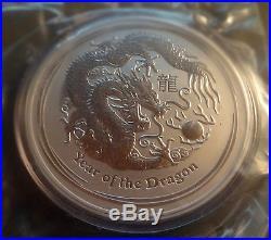 2012 Australia 10 oz Silver Year of the Dragon Lunar Series 2 Coin