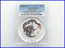 2012 Australia Berlin Lunar Dragon Black $1 One Dollar Silver 1oz Coin PCGS MS69