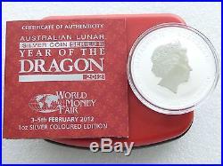 2012 Australia Berlin WMF Lunar Dragon Black $1 One Dollar Silver Coin Box Coa