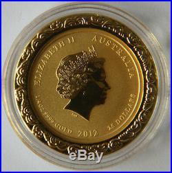 2012 Australia Lunar Animal colorized gold silver dragon coins(1/4oz&1oz)