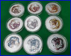 2012 Australia Lunar Dragon Colorized Silver coin 9 Pcs Set. (No Box & COA)