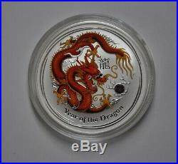2012 Australia Lunar Red 5 ounce Colorized Dragon. 999 Silver Coin Free Shipping