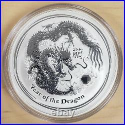 2012 Australia Lunar Series II Year of the Dragon 5 Oz Silver Bullion Coin + Box