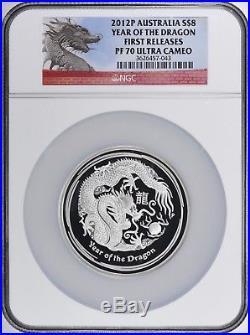 2012 Australia Lunar Year Of Dragon 5oz Silver Proof Coin NGC PF 70 UC