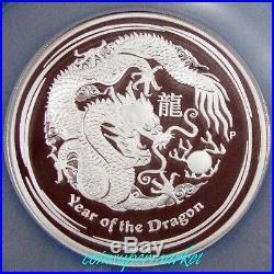 2012 Australia Lunar Year Of Dragon 5oz Silver Proof Coin NGC PF 70 UCCOA & Box
