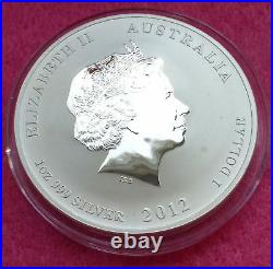 2012 Australia Lunar Year Of The Dragon 1 Oz Silver Coin Red/yellow Dragon