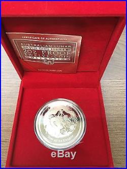 2012 Australia Lunar Year Of The Dragon 2 oz Silver Proof $2 Coin BOX COA